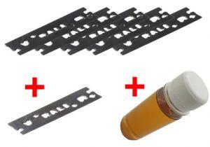 Pack 30mm : 5 chrome blades + 1 carbide blade + special oil